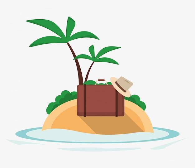Vakanties eiland koffer hoed palmboom woestijn oceaan