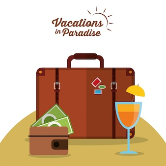 Vakanties in paradijs koffer portemonnee cocktail