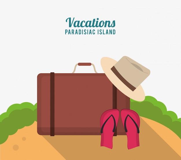 Vakanties paradijsachtig eiland met het flipflopzand van de kofferhoed
