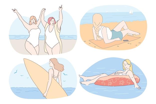 Vakanties, reizen, zomervakantie in de buurt van zee concept.