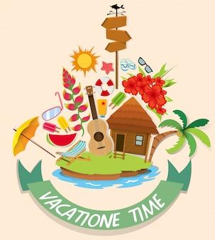 Vakantiethema met cabine en strandvoorwerpen