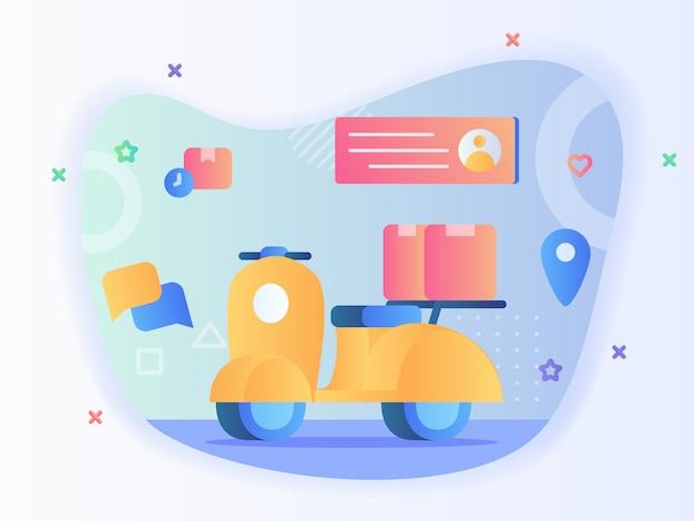 Vakpakket op scooter achtergrond profiel ontvanger adres aanwijzer locatie concept levering motorfiets met vlakke stijl vector design.