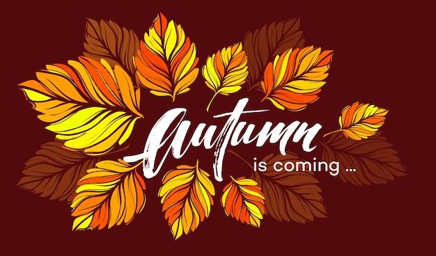 Val achtergrondontwerp met kleurrijke herfstbladeren. vectorillustratie eps10