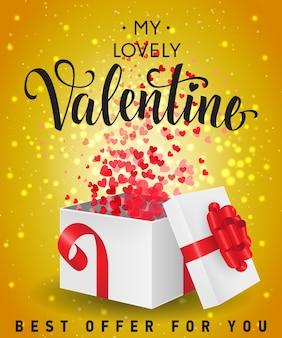 Valentijn aanbieding belettering met geschenkdoos