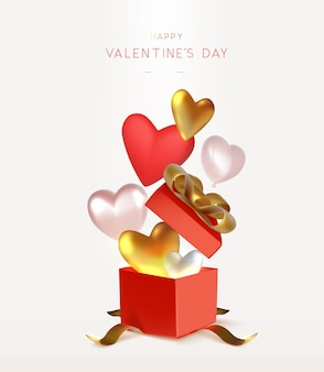 Valentijn achtergrondontwerp met open rode geschenkdoos en harten vectorillustratie