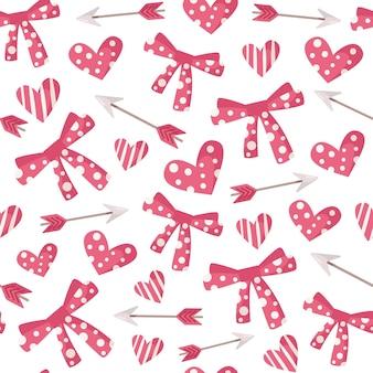 Valentijn cartoon naadloze patroon - hart en pijl, inpakpapier