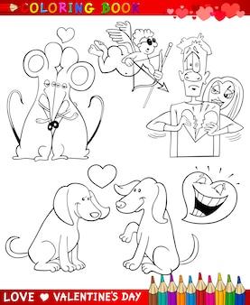 Valentijn cartoon thema's om in te kleuren