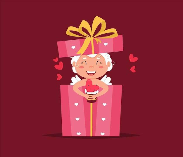 Valentijn cupido engel in geschenkverpakking.