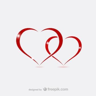 Valentijn harten contouren