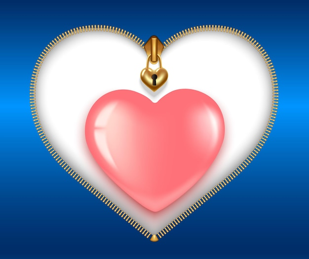 Valentijn in februari. ritssluiting in de vorm van een hart met slot en sleutelgat, goudkleurig, met een roze hartje.