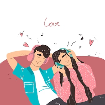 Valentijn kaart. liefhebbers van jongen en meisje luisteren naar muziek op de koptelefoon. paar in een verliefde relatie.