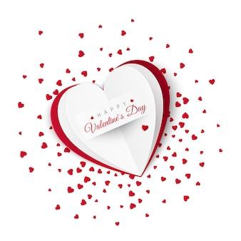 Valentijn kaart met confetti op achtergrond.