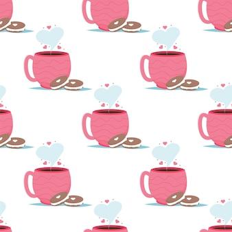 Valentijn kaart met koffie cups macaron dessert. ik hou van je naadloze patroon.