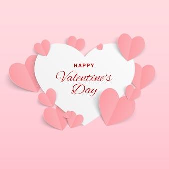 Valentijn kaart met papieren hartjes op roze. happy valentine's day wenskaart.