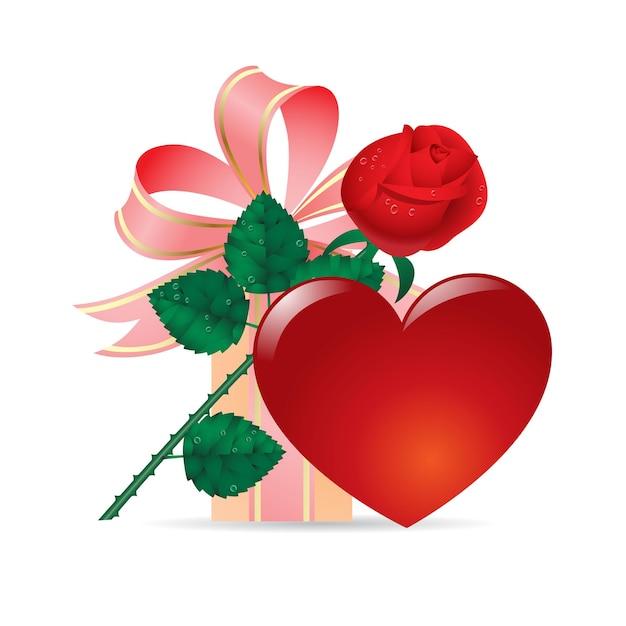 Valentijn kaart met roos en hart