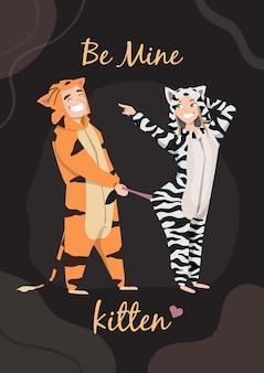 Valentijn. man met meisje thuis pyjama's leuk. liefhebbers in gekostumeerde kleding. grappige kostuums in de vorm van dieren. pyjama's in een jumpsuit voor de rest. wees mijn kitten