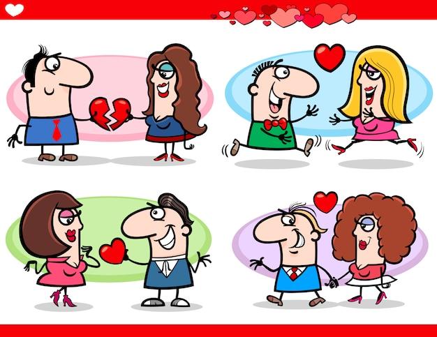 Valentijn paren verliefd cartoon set