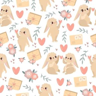 Valentijn patroon met hazen