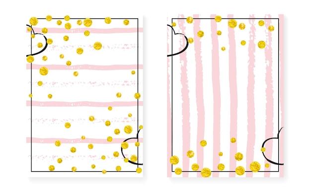 Valentijn sjabloon. roze abstracte illustratie. turkoois xmas verf. wit feestelijk behang. gestreepte glittery aanbieding. roos kader. decoratieve tijdschriftenset. gouden valentijn-sjabloon