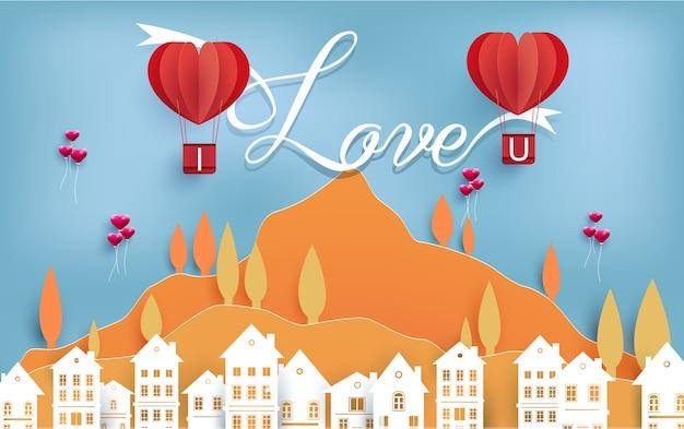Valentijn stad met hete luchtballon