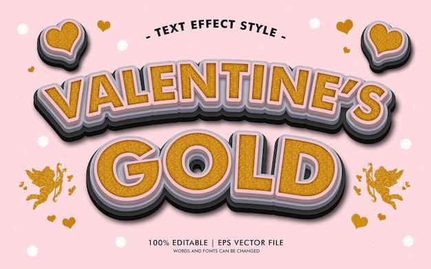 Valentijns gouden tekst effectenstijl