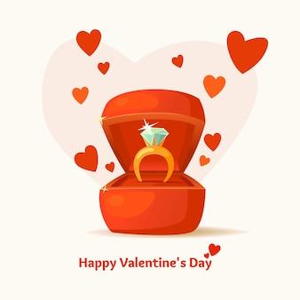 Valentijnsdag. 14 februari. geschenkdoos en een ring met een diamant in cartoonstijl.