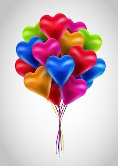 Valentijnsdag 3d harten kleurrijke baloons.
