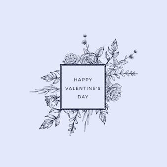 Valentijnsdag abstract botanisch label met vierkant frame bloemen