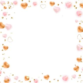 Valentijnsdag achtergrond frame ontwerp met hart.
