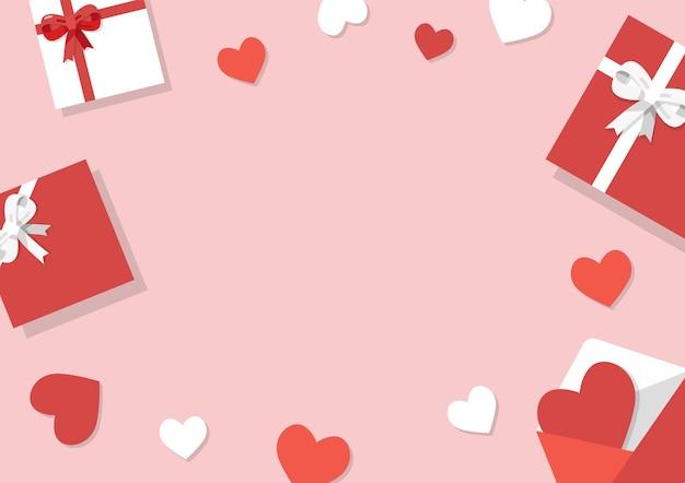 Valentijnsdag achtergrond. geschenken, confetti, envelop op pastel achtergrond. valentijnsdag concept. vector illustratie