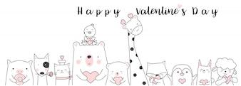 Valentijnsdag achtergrond hand getrokken stijl