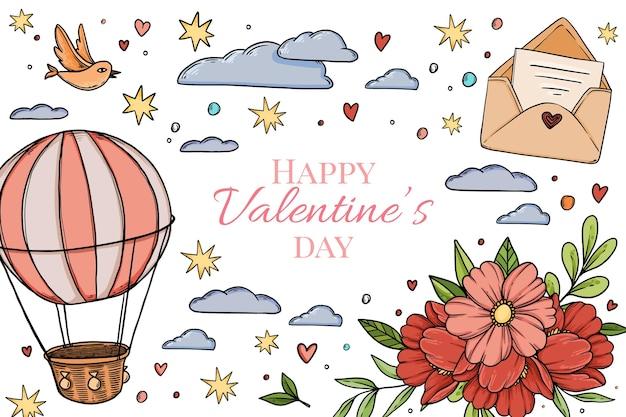 Valentijnsdag achtergrond hand getrokken