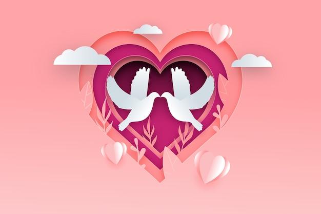 Valentijnsdag achtergrond in papier stijl met duiven