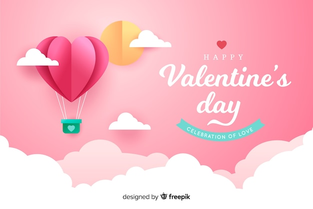 Valentijnsdag achtergrond in papier stijl
