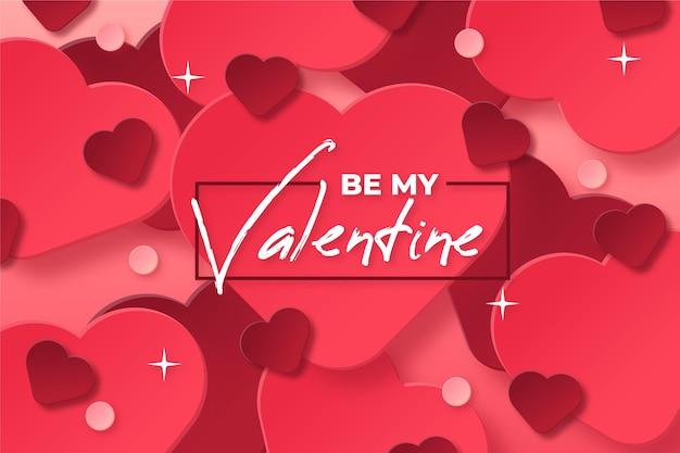 Valentijnsdag achtergrond in papieren stijl