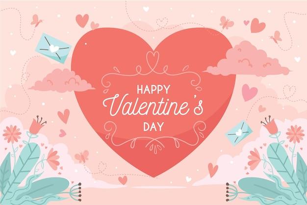 Valentijnsdag achtergrond in plat ontwerp