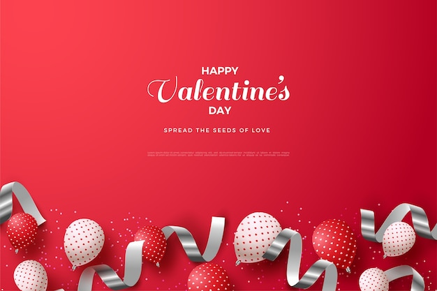 Valentijnsdag achtergrond met 3d-ballonnen en zilveren linten.