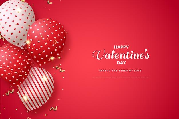 Valentijnsdag achtergrond met 3d ballonnen illustratie.