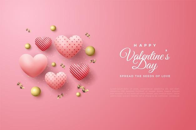 Valentijnsdag achtergrond met 3d liefde ballonnen en gouden kralen.