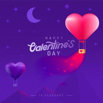 Valentijnsdag achtergrond met berg en ballonnen.
