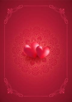 Valentijnsdag achtergrond met decoratieve mandala ontwerp en harten