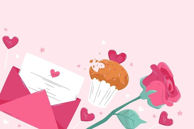 Valentijnsdag achtergrond met envelop en roos