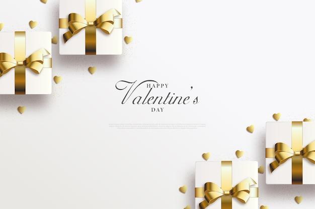 Valentijnsdag achtergrond met geschenkdoos en gouden lint.