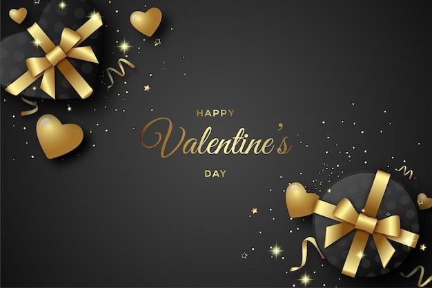 Valentijnsdag achtergrond met geschenkdoos in zwarte en gouden letters.
