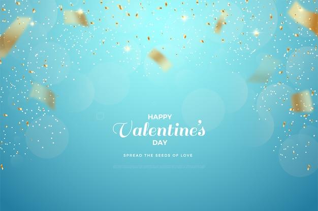 Valentijnsdag achtergrond met goud papier uitgespreid op blauwe achtergrond.