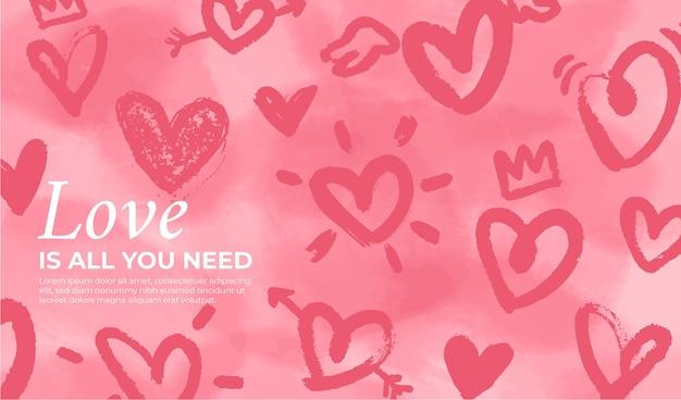 Valentijnsdag achtergrond met handgetekende harten