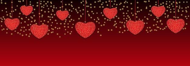 Valentijnsdag achtergrond met hangende harten.