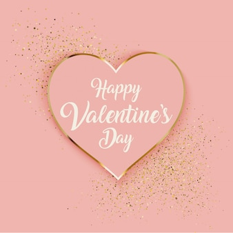 Valentijnsdag achtergrond met hart en goud glitter