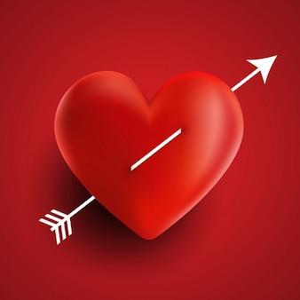 Valentijnsdag achtergrond met hart en pijlontwerp