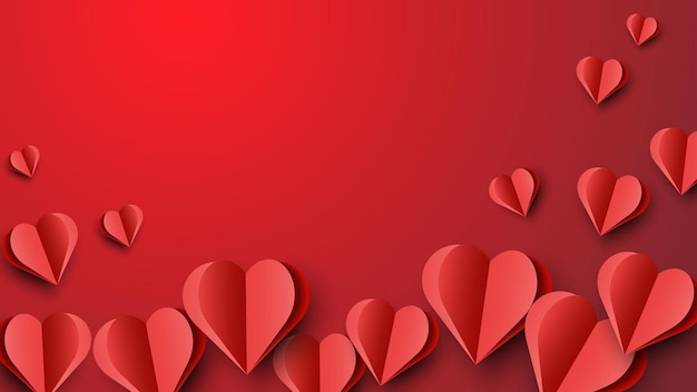 Valentijnsdag achtergrond met hartjes in papier kunst